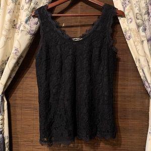 Adiva, Black Lace Tank Top, Size M